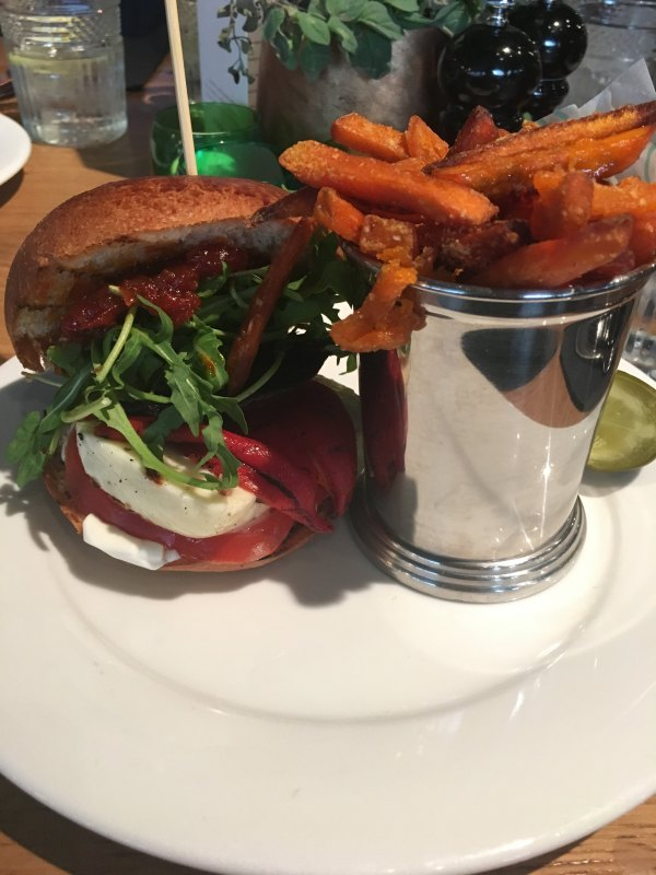 halloumi burger and sweet potato fries