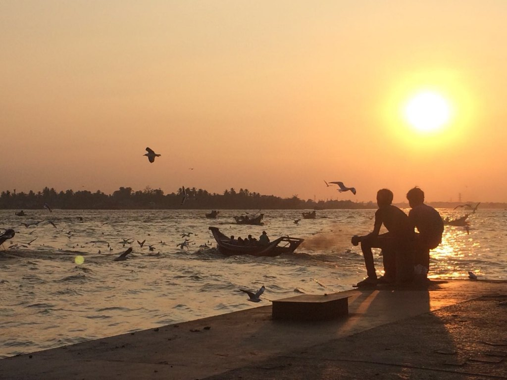 yangon river sunset
