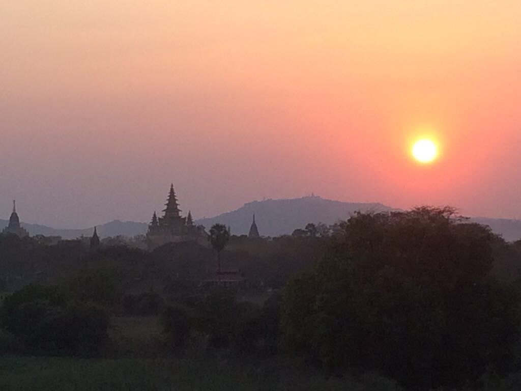sunset over temples Bagan